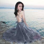 波西米亞泰國海邊度假長版交叉吊帶小心機漏背荷葉邊沙灘連身裙洋裝