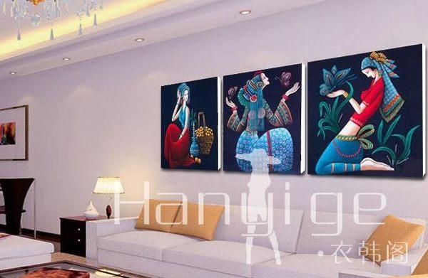 壁畫 三聯裝飾畫 壁畫 墻畫 民族少女 BH 衣涵閣