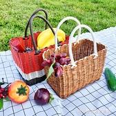沐春菜籃子購物籃塑料藤編編織買菜水果野餐用品全套必備網紅手提