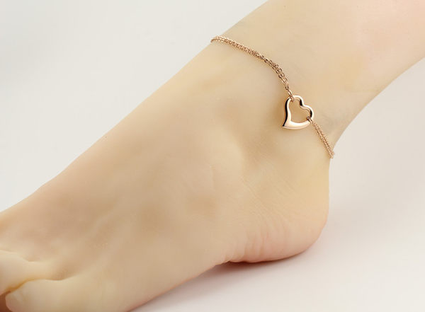 316L醫療鋼 縷空愛心心型 雙鍊腳鍊-玫瑰金 防抗過敏 不退色