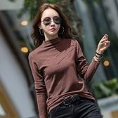 長袖T恤 打底衫S-2XL韓版7054#半高領紐扣純色打底衫女長袖t恤女裝上衣NE02快時尚