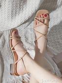 涼鞋女仙女風潮學生百搭一字高跟鞋2019新款粗中跟羅馬鞋   奇思妙想屋