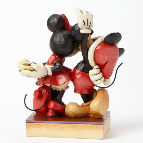 《Enesco精品雕塑》迪士尼米奇米妮聖誕檞寄生下親吻塑像-Under the Mistletoe★funbox生活用品★_EN65014
