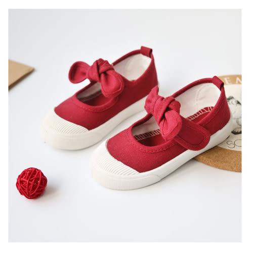 帆布鞋 女孩甜美蝴蝶結款四季兒童帆布鞋-酒紅