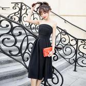 2018夏季新款修身中長款氣質性感抹胸連身裙黑色聚會晚宴小禮服女gogo購