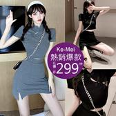 克妹Ke-Mei【AT60925】獨家,愛死了!復古名媛改良式旗袍套裝洋裝