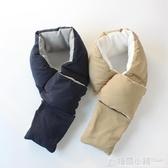 出口日本秋冬季男女羽絲絨圍巾加厚保暖時尚百搭圍脖女交叉款脖套 格蘭小鋪