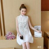 無袖洋裝 新款民族風改良版旗袍少女復古珠片刺繡中國風無袖連身裙 享購