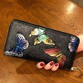 復古個性女錢包時尚長款拉鍊錢夾大容量多卡位手機包蝴蝶 奇思妙想屋