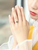 黑玫瑰·小野性冷淡風999純銀戒指 女開口日韓 潮人 學生尾戒小指