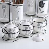 3件套 陶瓷歐式調味罐調料盒瓶家用鹽罐廚房用品【南風小舖】