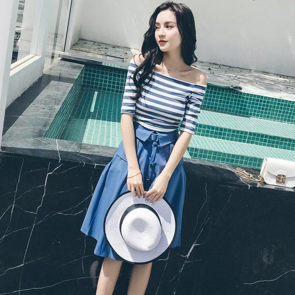 VK精品服飾 韓國矇一字領條紋T半身裙時尚套裝短袖裙裝