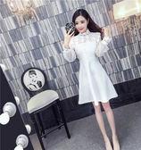 VK精品服飾 韓國風甜美小立領蕾絲拼接中長款修身長袖洋裝
