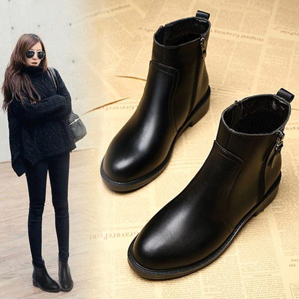 靴子女短靴2018秋冬新款高跟粗跟ins馬丁靴女短筒瘦瘦靴棉鞋
