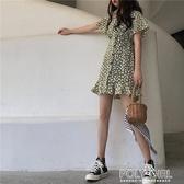 夏季韓版梗桔裙法式復古初戀裙超仙森系小雛菊洋裝女碎花裙 polygirl