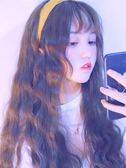 假髮女長髮長卷髮玉米燙網紅可愛圓臉空氣劉海全頭套式自然大波浪