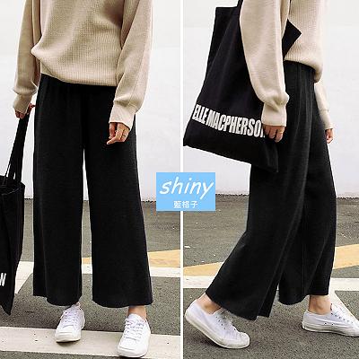 【V1470】shiny藍格子-簡搭風格.純色高腰顯瘦寬鬆闊腿九分褲