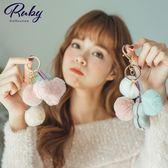 鑰匙圈 棉花糖球球絨毛吊飾鑰匙圈-Ruby s 露比午茶