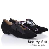 ★2018秋冬★Keeley Ann復古俏皮~碎花蝴蝶結平低跟全真皮瑪莉珍鞋(黑色)
