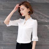 夏季新款雪紡衫女半袖襯衫春裝白色上衣短袖中袖韓版百搭襯衣 GB3361『樂愛居家館』