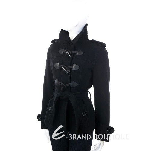 MOSCHINO 黑色牛角釦綁帶外套 1230470-01