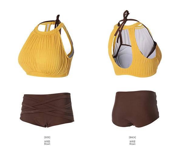 泳裝 比基尼 泳衣 撞色 抓皺 平角 背心 運動 兩件套 泳裝【SF8020】 BOBI  03/22