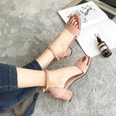 羅馬涼鞋女仙女風2020夏季新款學生百搭一字扣帶高跟鞋女粗跟女鞋「時尚彩紅屋」