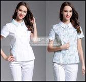 口腔牙科診所女護士春夏短袖翻領收腰工作服女護士服白褲分體套裝LG-882011