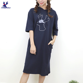 【秋冬新品】American Bluedeer - 刺繡連帽洋裝 二色