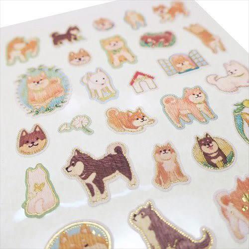 日本製金箔鑲飾仿刺繡系列貼紙(萌萌柴犬)★funbox★KAMIO_KM08501
