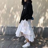 2019新款韓版春季港味寬鬆高腰不規則下擺純色 伊蒂斯女裝