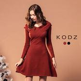 東京著衣【KODZ】注目款前交叉復古設計針織洋裝-S.M.L(172393)