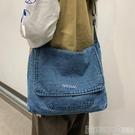 帆布包六折 韓版復古水洗牛仔布大包包女2020新款早春大容量單肩斜背包帆布包 印象家品
