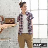 【JEEP】女裝經典格紋襯衫-藍紅色
