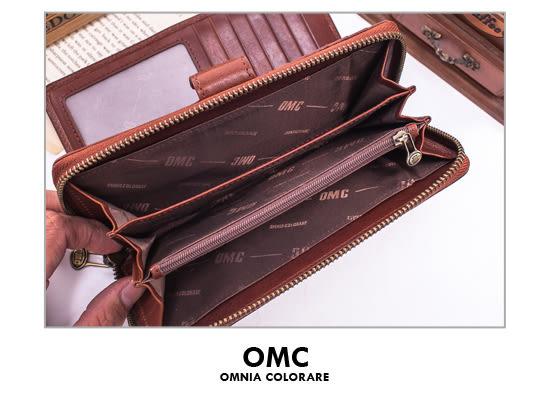 OMC - 時尚精工牛皮原皮多卡拉鍊零錢長夾