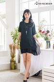 雪紡洋裝--經典時尚條紋綁帶貼邊圓領短袖顯瘦假兩件連身裙(黑L-3L)-D462眼圈熊中大尺碼