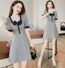洋裝方領小禮服裙格子風穿搭大領口小個子連身裙子夏季5960 NA38-C快時尚