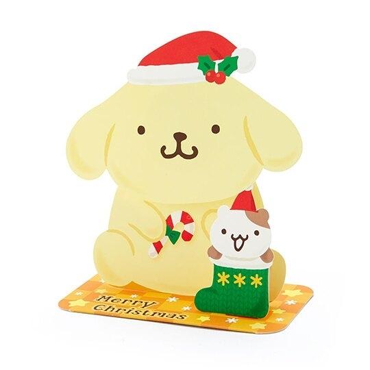 小禮堂 布丁狗 可立式造型聖誕卡片 立體卡片 耶誕卡 賀卡 (黃 2020聖誕節) 4550337-10713