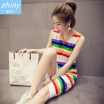 【V1056-1】shiny藍格子-瑕疵特賣.彩色條紋修身無袖背心連身裙