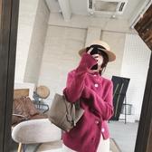 毛衣外套寬鬆休閒2020秋冬新款排扣褶皺粉女厚實開衫斜襟