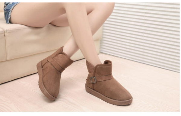 A126 愛麗絲的最愛 ~百搭不敗扣環設計同色內舖毛保暖雪靴/短靴 (零碼特價)