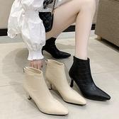 短靴.韓風菱格紋後拉鍊尖頭粗跟靴.白鳥麗子