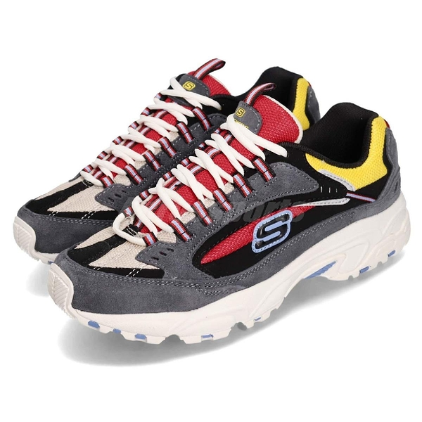 Skechers 休閒鞋 Stamina Cutback 灰 紅 男鞋 避震緩衝橡膠鞋底 Dad Shoes 運動鞋【PUMP306】 51286CCRD