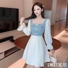 2020早秋季新款韓版牛仔拼接法式方領泡泡袖連身裙小眾設計感裙子CL556【SWEET家居】