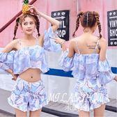 溫泉泳衣女分體兩件套帶袖性感日系可愛小清新印花褲裙游泳裝