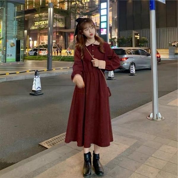 大碼洋裝 大碼洋氣減齡復古法式連身裙女秋冬胖妹妹名媛氣質收腰顯瘦打底裙  芊墨左岸 上新