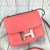 BRAND楓月 HERMES 愛馬仕 D刻 夏日粉 內裏磚紅色 銀釦 CONSTANCE18 K4/R1 康康包 側背包