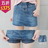 【五折價$375】糖罐子鈕釦造型口帶車線縮腰單寧褲裙→深藍 預購【KK5882】