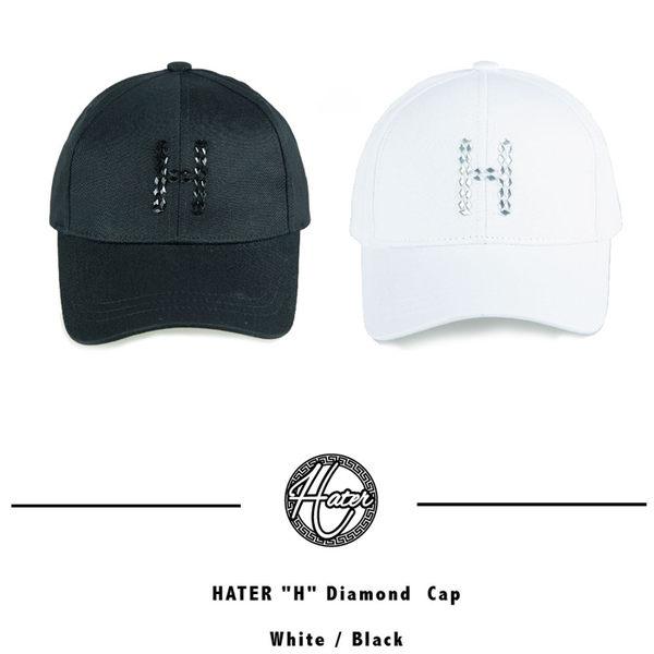 HATER H Diamond  Cap - Black 字母 老帽 鴨舌帽 帽子 白色