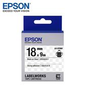 【EPSON】LK-5TBW S655410 標籤帶(高黏性系列)透明底黑字18mm